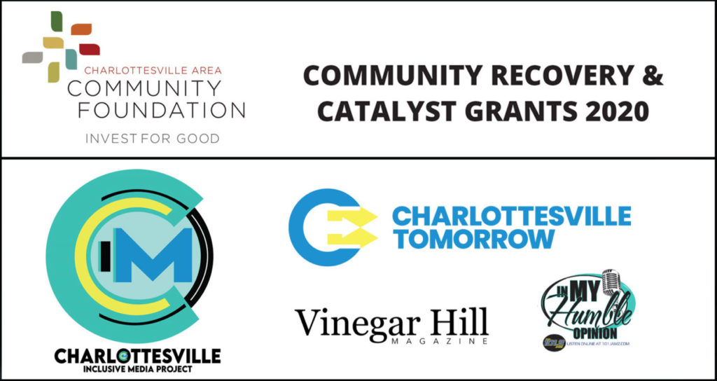 Community Recovery & Catalyst Grants 2020 with various logos including Charlottesville Inclusive Media